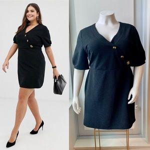ASOS Curve Textured Dress with Faux Horn Buttons